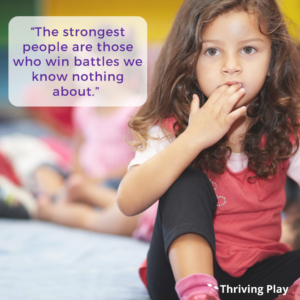 """Photo of a girl with the quote """"The strongest people are those who win battles we know nothing about."""""""